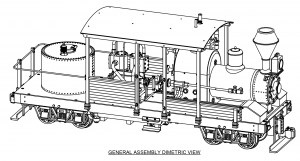 A 3D perspective line drawing of the Climax Class A locomotive model.